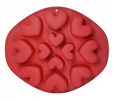 """Форма Maestro """"Серця"""", для випічки кексів, матеріал - силікон,розмір:28,5х23,5х3,5 см, MR-1056"""