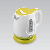 Электрический чайник 1,0 л Maestro, термостойкий пластик, цвет белый с зелеными вставками (MR-013-GREEN)