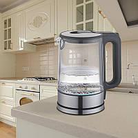Электрический чайник 1,7 л Maestro корпус из термостойкого стекла, цвета черный и серый (MR-053)
