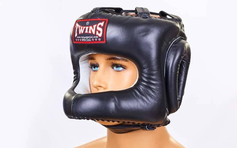 Шолом боксерський з бампером шкіряний TWINS HGL-9-BK-L