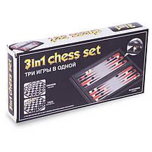 Шахи, шашки, нарди 3 в 1 дорожні пластикові магнітні 9618 (р-р дошки 27см x 27см), фото 3