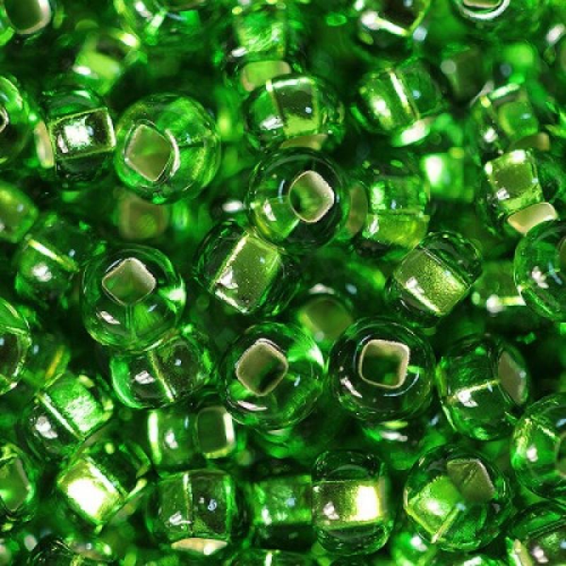 Бисер Preciosa 10/0 цв. 57430 Прозрачный с серебряной полосой TSL, Зеленый, Круглый