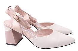 Туфли женские летние на каблуке из натуральной кожи, бежевые Polann