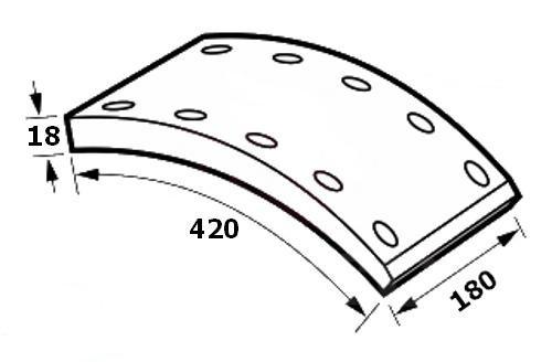 ONE SOURCE 19032 НАКЛАДКИ ТОРМОЗНЫЕ ОСЬ BPW, FRUEHAUF, SAF, KASSBOHRER  180x18mm  D420mm (STD) /WT/