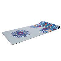 Коврик для йоги Замшевый каучуковый двухслойный 3мм Record FI-5662-58 (размер 1,83мx0,61мx3мм, мятный-синий)