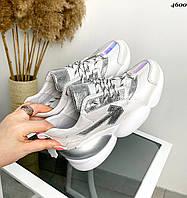 Женские кожаные кроссовки на шнуровке 36-40 р белый+серебро