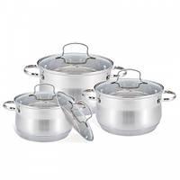 Посуда Maestrо Basic, в комплекте 6 предметов, цвет серебро, материал - нержавеющая сталь, MR-3512-6M
