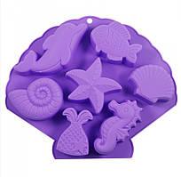 """Форма Maestro """"Морське життя"""", для випічки кексів, матеріал - силікон,розмір: 25х20,7х3 см, MR-1055"""