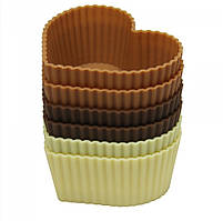 "Форма для выпечки кексов Сердца"" Maestro, материал - силикон, в наборе 6 шт, 7х8х3,5 см, MR-1057"