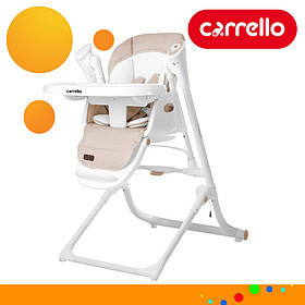 Детский стульчик для кормления CARRELLO Triumph CRL-10302 Beige | Стульчик-качеля, шезлонг Каррелло