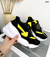 Женские замшевые кроссовки на шнуровке 36-40 р чёрный+жёлтыйй