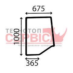 Стекло боковое левое трактора Case-IN, 1340194C1, MC1340194C1