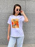 Женская футболка летняя оверсайз прямого кроя с рисунком на груди (р. S, M, L) 5517529, фото 3