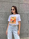 Женская футболка летняя оверсайз прямого кроя с рисунком на груди (р. S, M, L) 5517529, фото 5