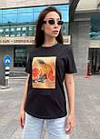 Женская футболка летняя оверсайз прямого кроя с рисунком на груди (р. S, M, L) 5517529, фото 9