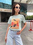Женская футболка летняя оверсайз прямого кроя с рисунком на груди (р. S, M, L) 5517529, фото 4