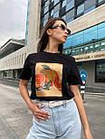 Женская футболка летняя оверсайз прямого кроя с рисунком на груди (р. S, M, L) 5517529, фото 8