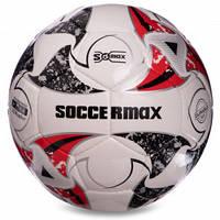 М'яч футбольний професійний №5 SOCCERMAX FIFA FB-0003 (PU, білий-сірий-червоний)