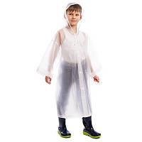 Дождевик для ребенка на кнопках многоразовый прозрачный рост 120-160см (C-1010 white)