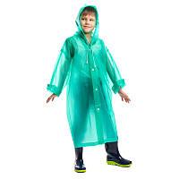 Дождевик длинный детский на кнопках многоразовый цвет зеленый рост 120-160см (C-1010 green)
