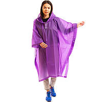 Дождевик нейлоновый для взрослых пончо многоразовый, цвет фиолетовый (C-1060 purple)