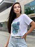Женская прямая футболка оверсайз на лето с рисунком на груди (р. S, M, L) 5517533, фото 3