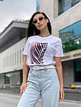 Женская прямая футболка оверсайз на лето с рисунком на груди (р. S, M, L) 5517533, фото 8