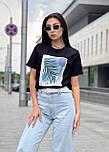 Женская прямая футболка оверсайз на лето с рисунком на груди (р. S, M, L) 5517533, фото 6