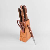 Набор ножей на деревянной подставке из 7 предметов maestro Basic, цвет коричневый (MR-1401)