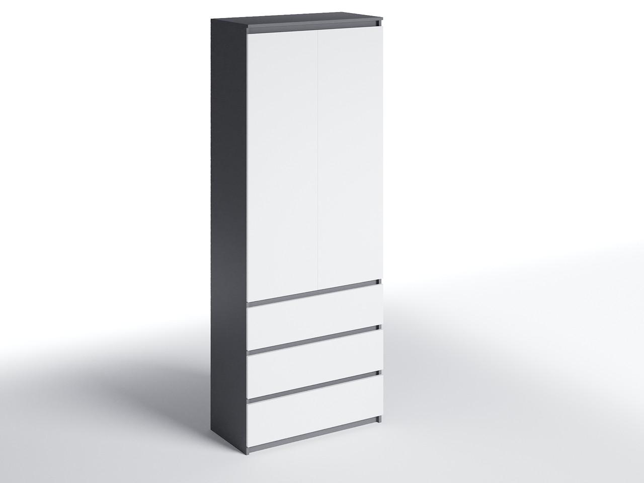 Шафа для одягу з 3 ящиками Антрацит/Білий