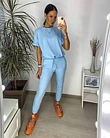 Стильный женский спортивный костюм с футболкой свободного кроя