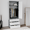 Шафа для одягу з 3 ящиками Антрацит/Білий, фото 2