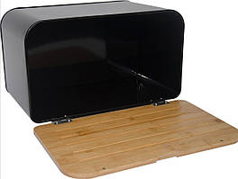 Хлебница Maestro, материал - нержавеющая сталь, дерево, пластик, размер: 34,5х25х16,5 см, MR-1770-BL