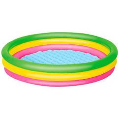 Бассейн детский Bestway 51104 круглый с надувным дном, 102-25 см, 3кольца, в коробке