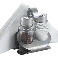 Набор для специй Rainbow: соль+перец+салфетки на подставке, MR-1611 B