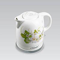 Электрический чайник 1,5 л Maestro, высококачественная керамика, цвет белый (MR-066-WHITE FLOWERS)