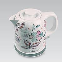 Электрический чайник 1,5 л Maestro, высококачественная керамика, цвет белый с узорами (MR-068)