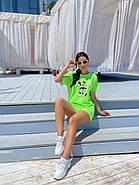 Спортивный комплект женский из шорт на резинке и футболке с рисунком, фото 2