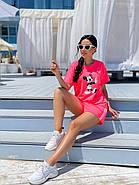 Комплект женский из шорт на резинке и двумя полосками по бокам и футболки с рисунком, фото 2