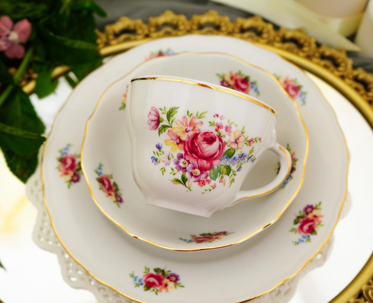 Антикварні порцеляновий чайна трійка, чашка, блюдце й тарілка, Oscar Schaller & Co, Німеччина, фарфор