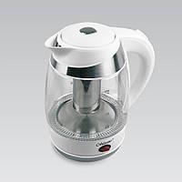 Электрический чайник 1,8 л Maestro, термостойкое стекло, цвета белый и голубой (MR-065)