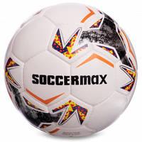 М'яч футбольний професійний №5 SOCCERMAX FIFA FB-2361 (PU, білий-сірий-помаранчевий)