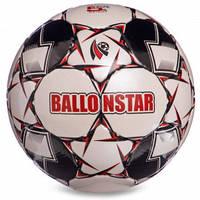 М'яч футбольний №5 CRYSTAL BALLONSTAR FB-2369 (№5, 5 сл., зшитий вручну, білий-чорний-червоний)
