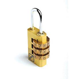 Чемоданный навесной кодовый замок Travel Blue 3 циферблата золотистый (035G)