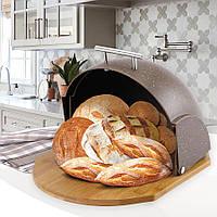 Хлебница Maestro, материал основания: дерево (бамбук), размеры: 37x21,5x39,5 см, MR-1678-BR-BROWN