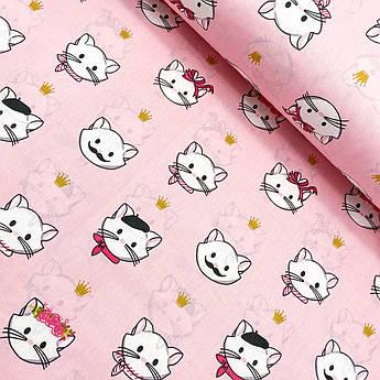 """Турецкая хлопковая ткань ранфорс """"Кошки с короной на розовом"""" 240 см"""