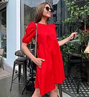 Летнее котоновое платье-трапеция свободного кроя