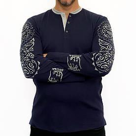 """Джемпер Batiar с вышивкой """" Тату Тотем"""" синий #E/S"""