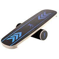 Балансборд для тренировки равновесия 75 см черный (балансировочная доска)