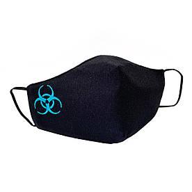 """Підліткова захисна маска для обличчя """"Quarantine"""" чорно-блакитна #E/S"""